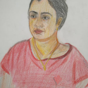 face of pregnant lady pencil drawing