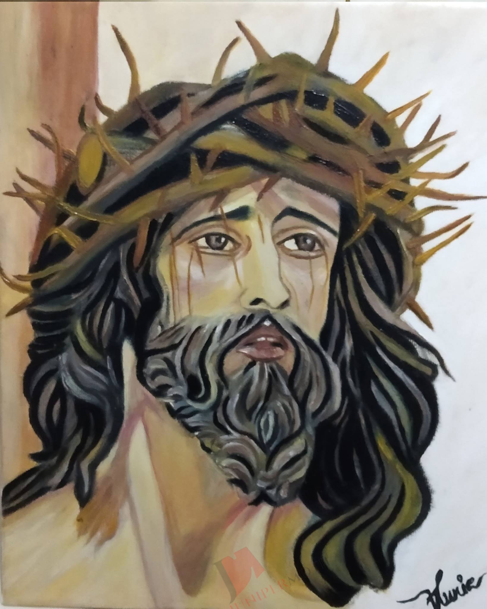 crusified jesus christ oil painting