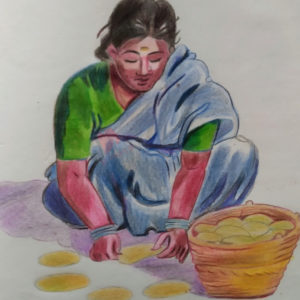 working women color pencil drawing